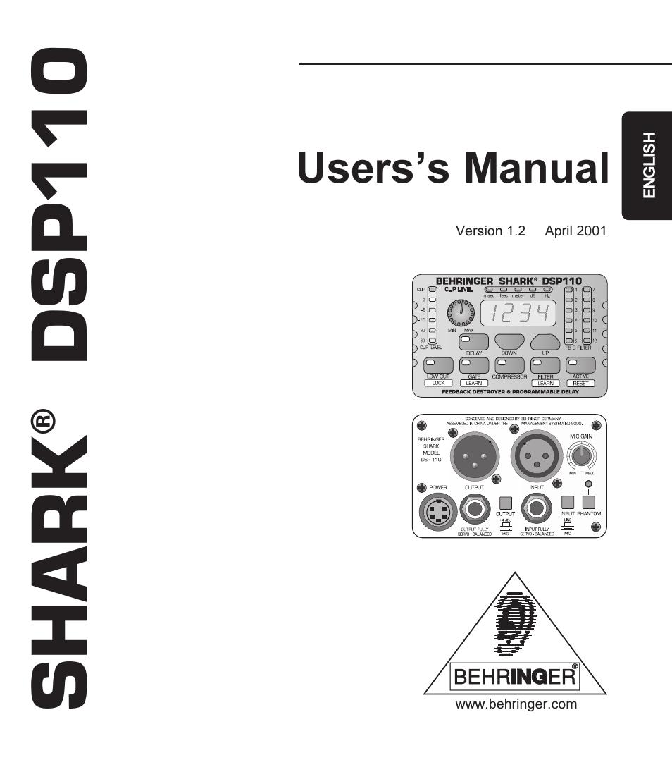 BEHRINGER SHARK DSP110 MANUAL PDF