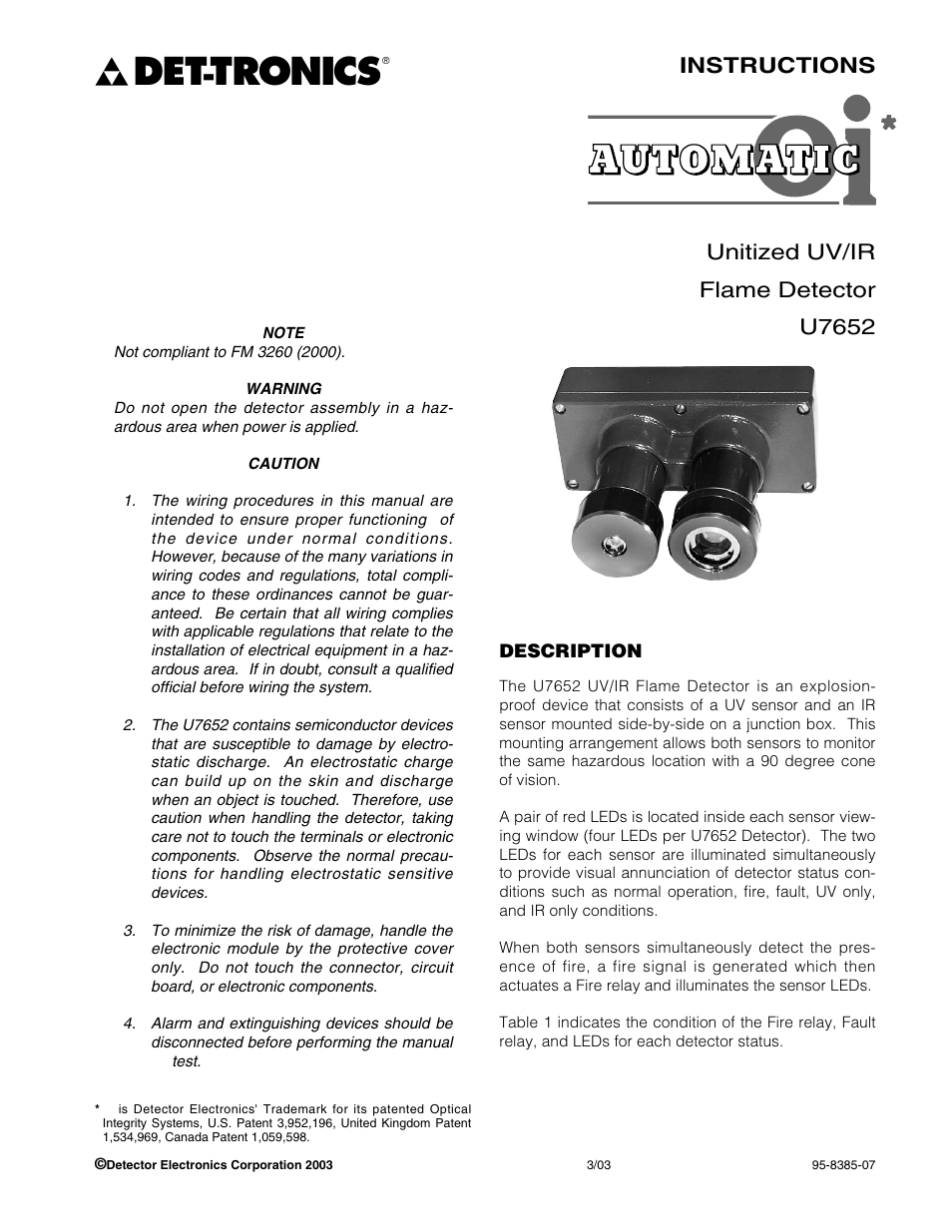 medium resolution of tronics instructions unitized uv ir flame detector u7652 det tronics u7652b c unitized uv ir flame detector user manual page 3 22