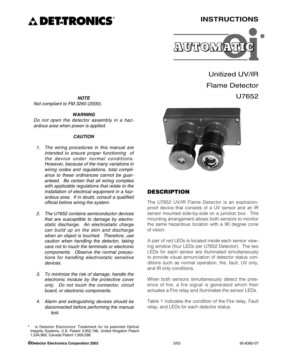hight resolution of tronics instructions unitized uv ir flame detector u7652 det tronics u7652b c unitized uv ir flame detector user manual page 3 22