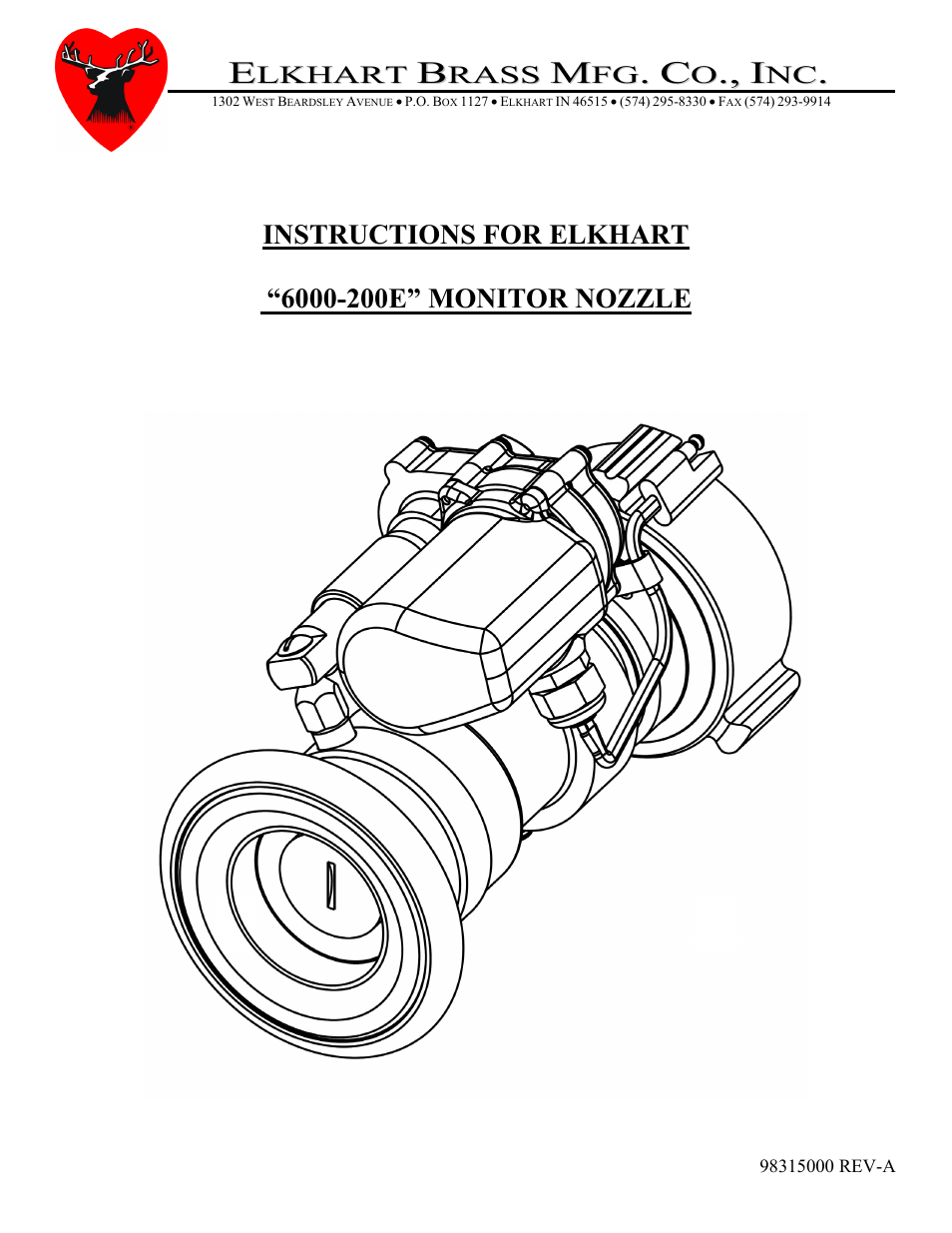 Elkhart Brass ELKHART 6000-200E MONITOR NOZZLE User Manual