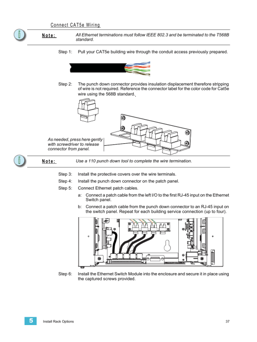 small resolution of connect cat5e wiring n o t e etc unison ern wall mount control enclosure user manual page 41 44