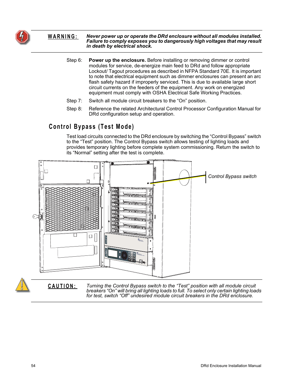 medium resolution of control bypass test mode etc unison drd dimming rack enclosure user manual page 58 68