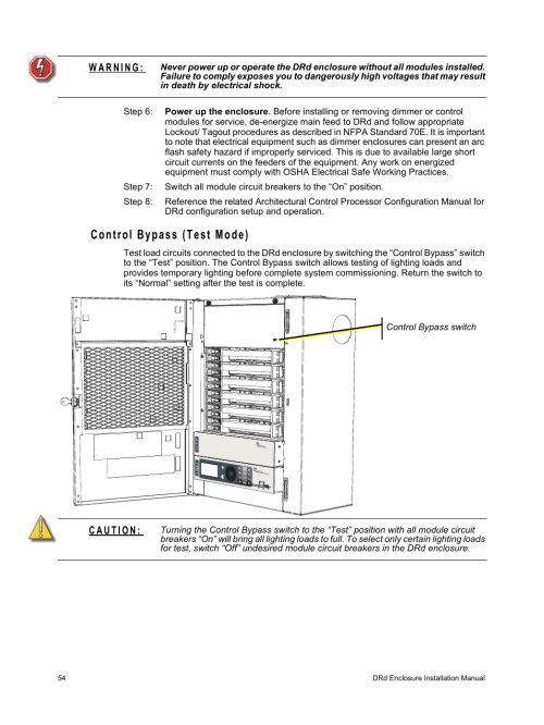 small resolution of control bypass test mode etc unison drd dimming rack enclosure user manual page 58 68