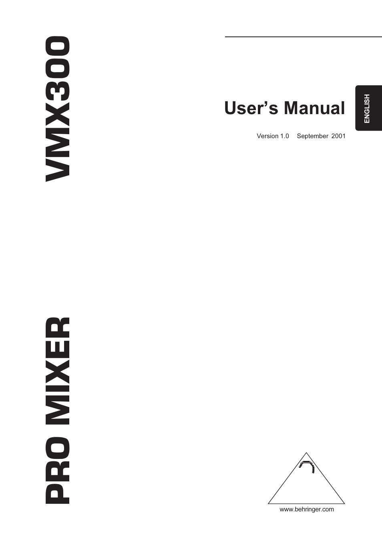 BEHRINGER VMX300 MANUAL PDF