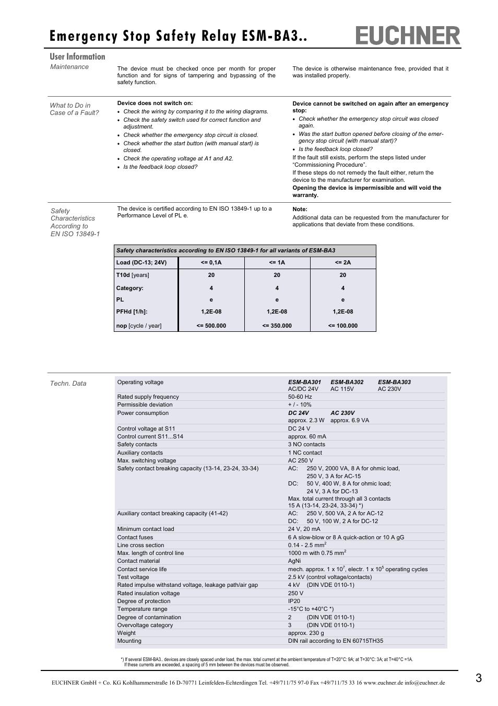 medium resolution of emergency stop safety relay esm ba3 user information euchner esm ba3xx user manual page 3 4