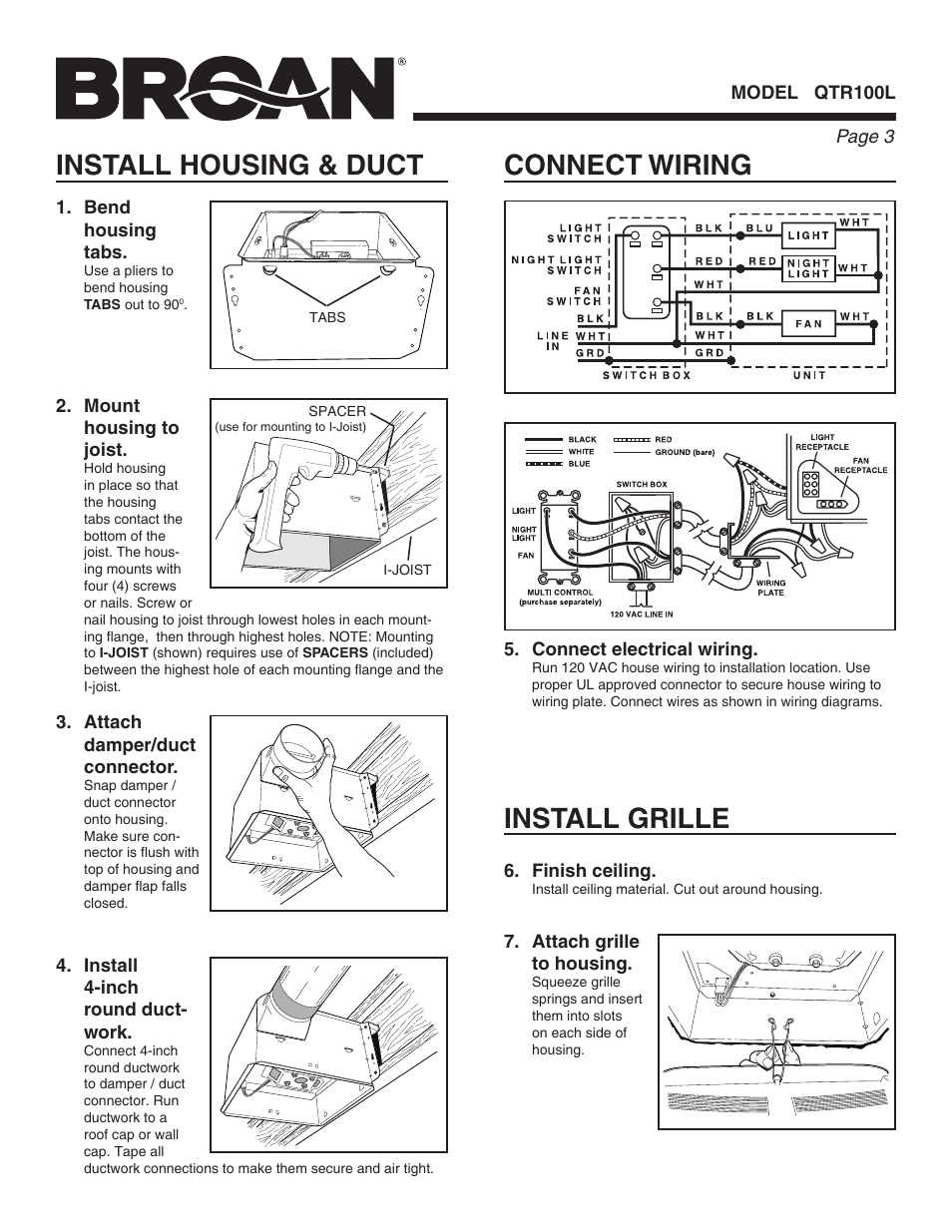Connect wiring, Install housing & duct, Install grille