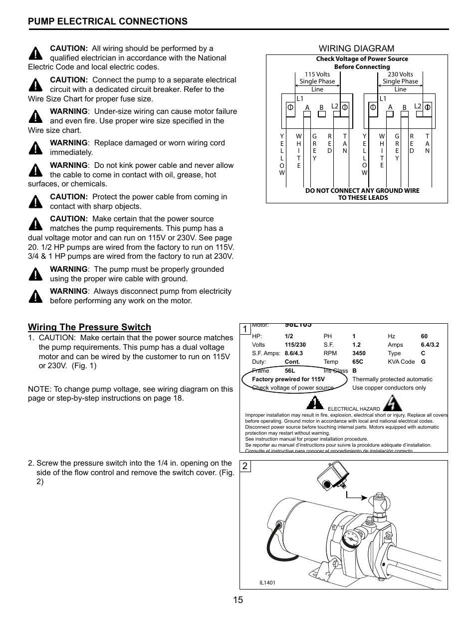 hight resolution of 15 pump electrical connections 1wiring the pressure switch wiring diagram flint walling