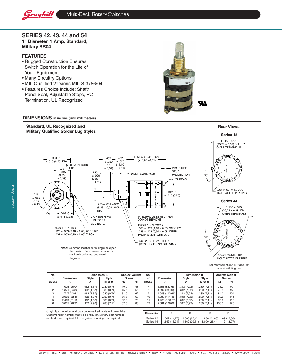 hight resolution of grayhill multi deck rotary switches 54 series user manual 10 pages also for multi deck rotary switches 43 series multi deck rotary switches 44 series