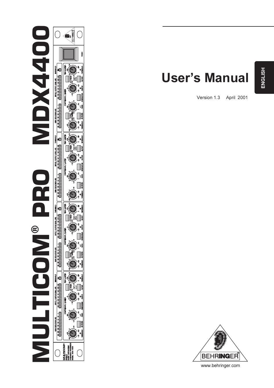 BEHRINGER MDX4400 MANUAL PDF