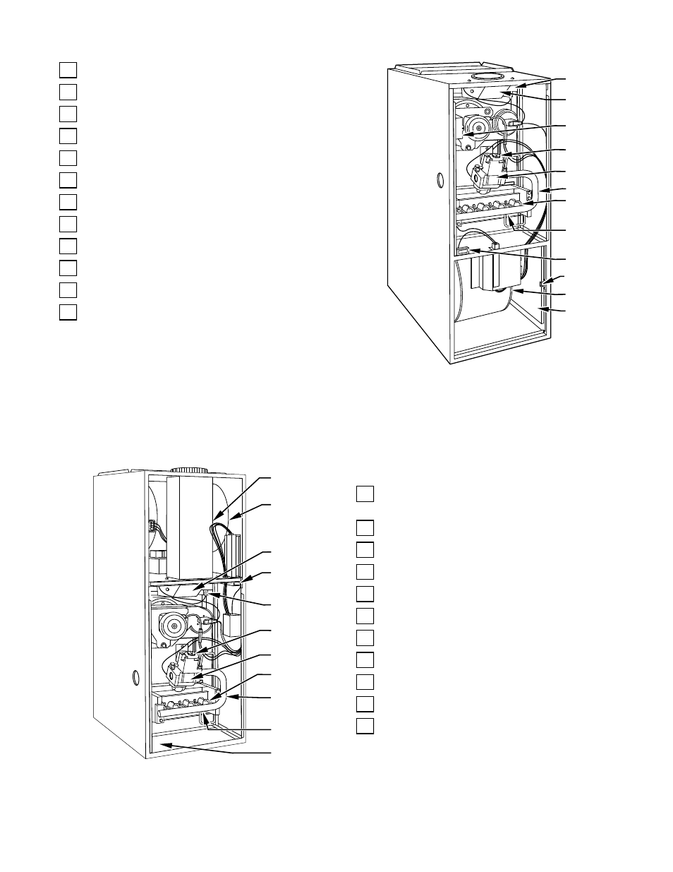 Upflow furnace components, Downflow furnace components