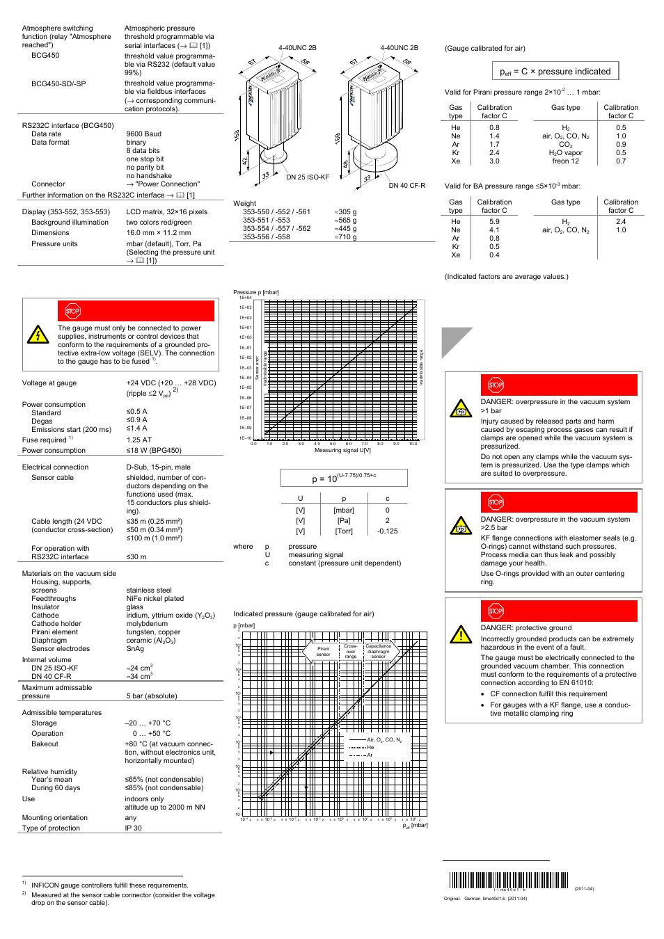 Installation, Measuring signal vs. pressure, Gas type