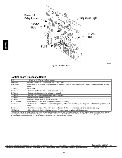 small resolution of control board diagnostic codes bryant 4 way multipoise 359aav user manual page 44 44