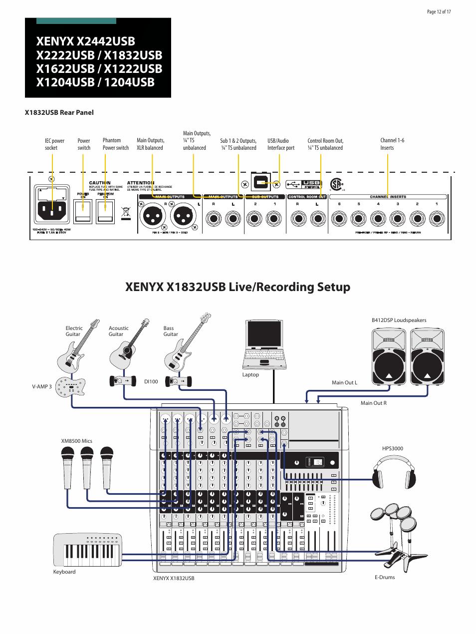 John Deere B Wiring Schematic Xenyx X1832usb Live Recording Setup Behringer Xenyx