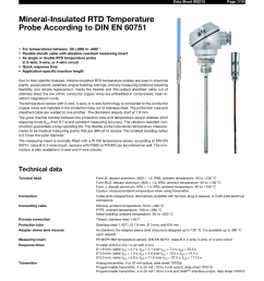 jumo 902210 mineral insulated rtd temperature probes with bare connection wires according to din en 60751 data sheet user manual 10 pages [ 954 x 1351 Pixel ]