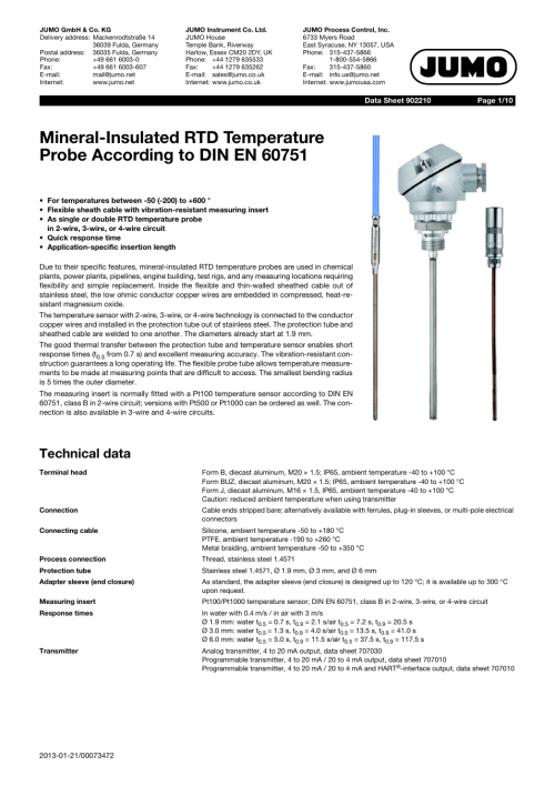 small resolution of jumo 902210 mineral insulated rtd temperature probes with bare connection wires according to din en 60751 data sheet user manual 10 pages