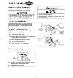 adjustments warning carburetor adjustment briggs stratton 90000 10000 user manual page 14 20 [ 954 x 1171 Pixel ]