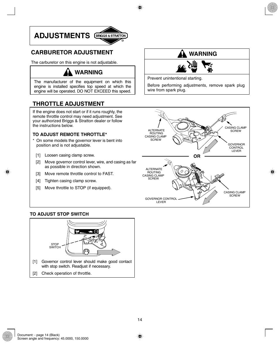 medium resolution of adjustments warning carburetor adjustment briggs stratton 90000 10000 user manual page 14 20
