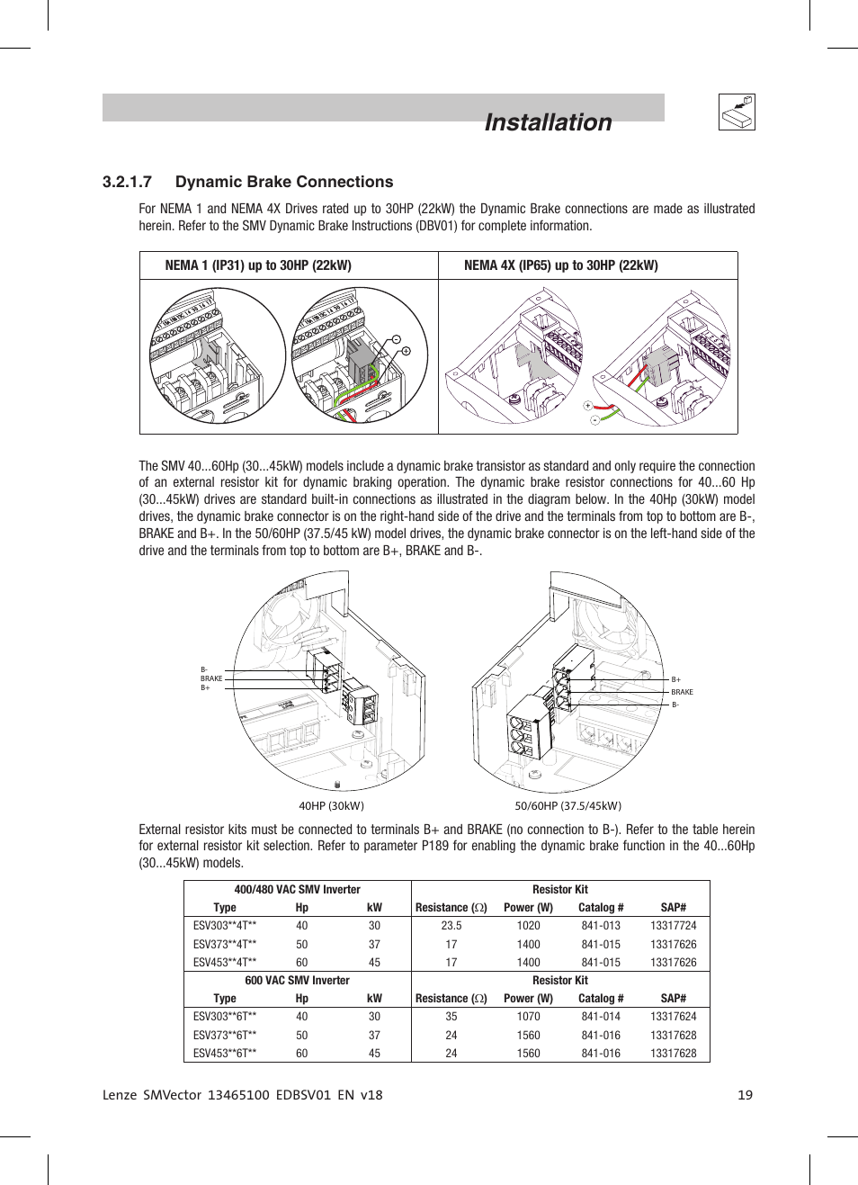 hight resolution of installation 7 dynamic brake connections lenze esv smv frequency inverter user manual page 21 66