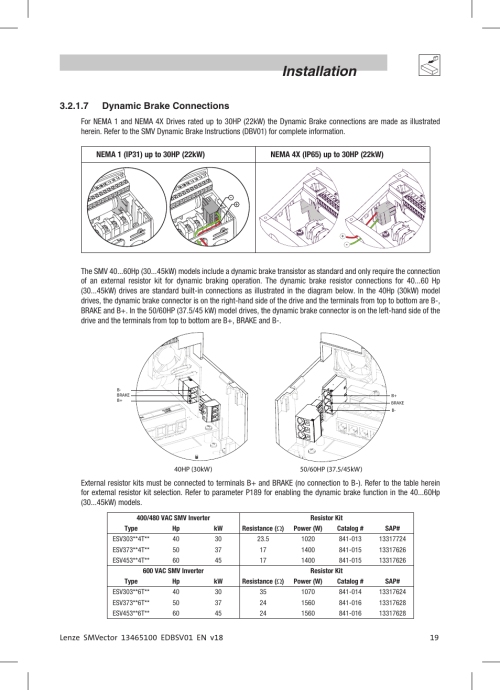 small resolution of installation 7 dynamic brake connections lenze esv smv frequency inverter user manual page 21 66