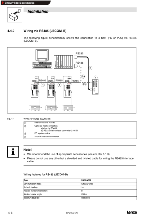 small resolution of 2 wiring via rs485 lecom b wiring via rs485 lecom b installation lenze emf2102ib user manual page 18 62