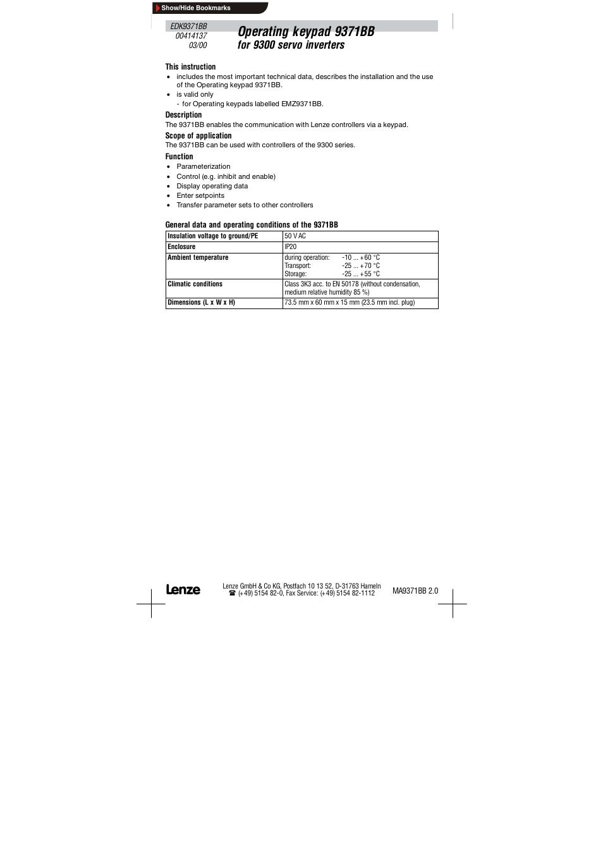 Operating keypad 9371bb for 9300 servo inverters