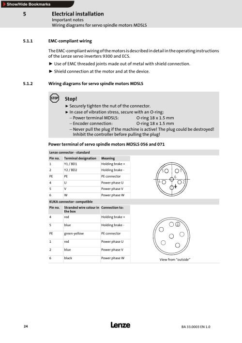 small resolution of 1 emc compliant wiring 2 wiring diagrams for servo spindlemotors mdsls emc compliant wiring lenze mdsls servo spindle motor user manual page 24 40
