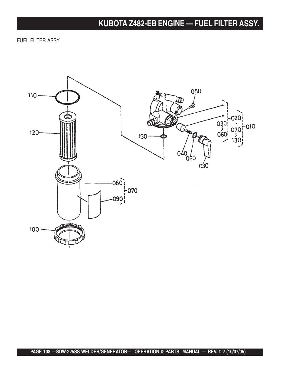 medium resolution of kubota z482 eb engine fuel filter assy multiquip sdw225ss user manual page 108 146