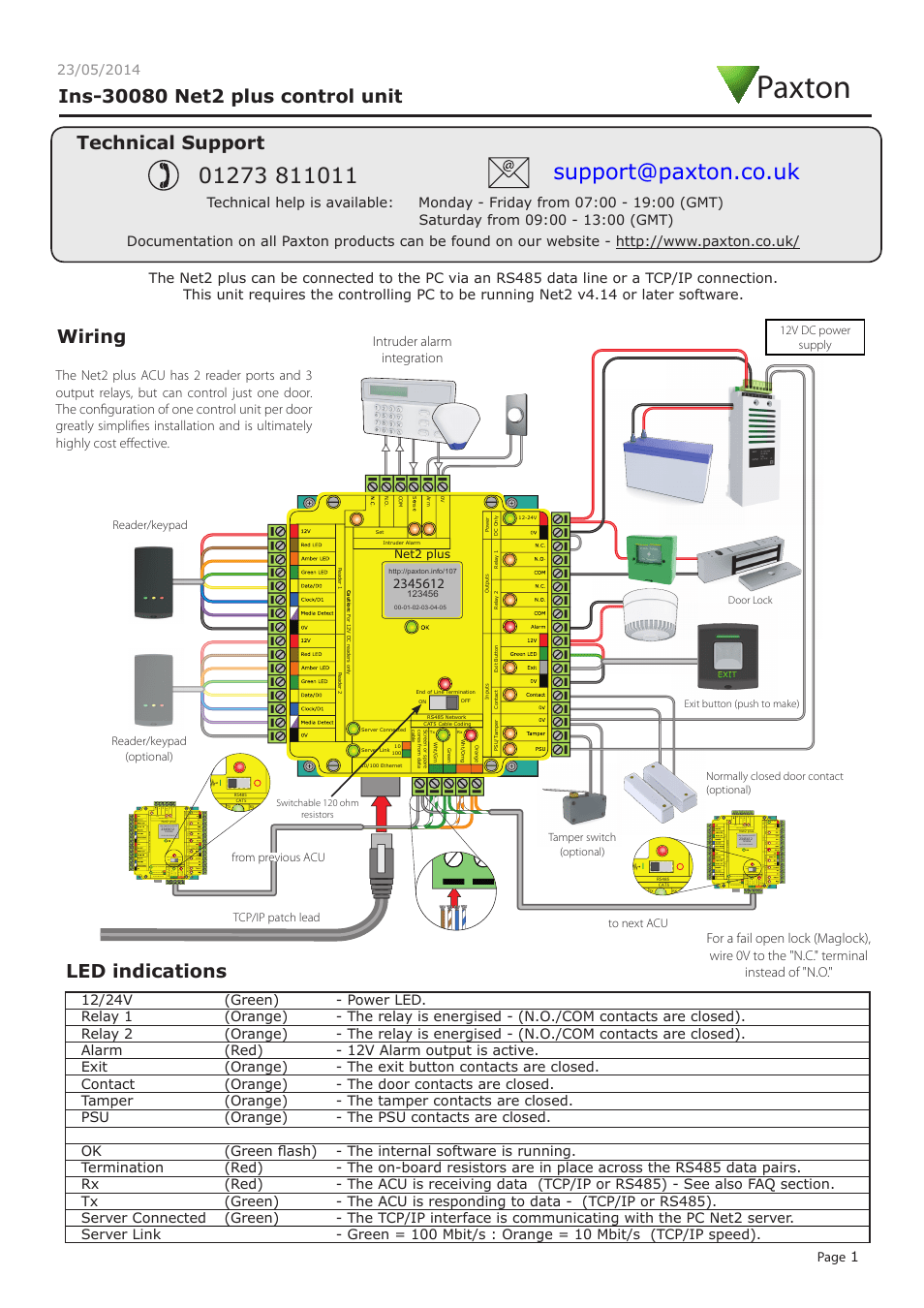 hight resolution of paxton net2 plus control unit user manual 8 pages