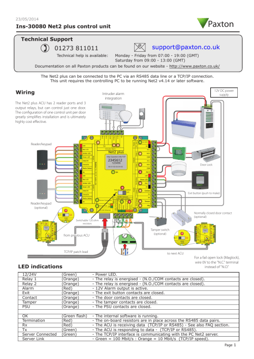 small resolution of paxton net2 plus control unit user manual 8 pages