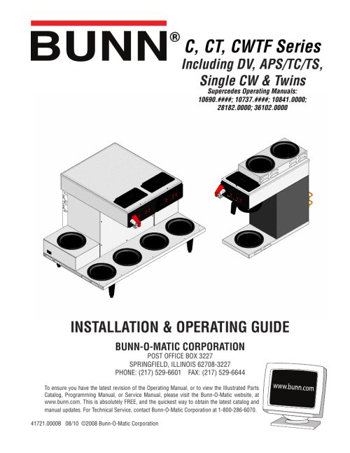 small resolution of bunn cwtf user manual 17 pages also for ctbunn model bx wiring diagram 12