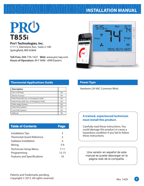 small resolution of pro1 t855i installation manual user manual 16 pages pro1 thermostat wiring diagram