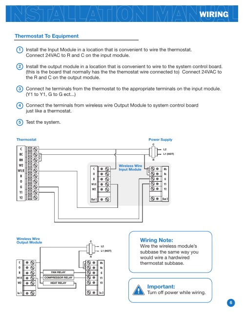 small resolution of wiring important thermostat to equipment pro1 ww160w user manual page 6 9