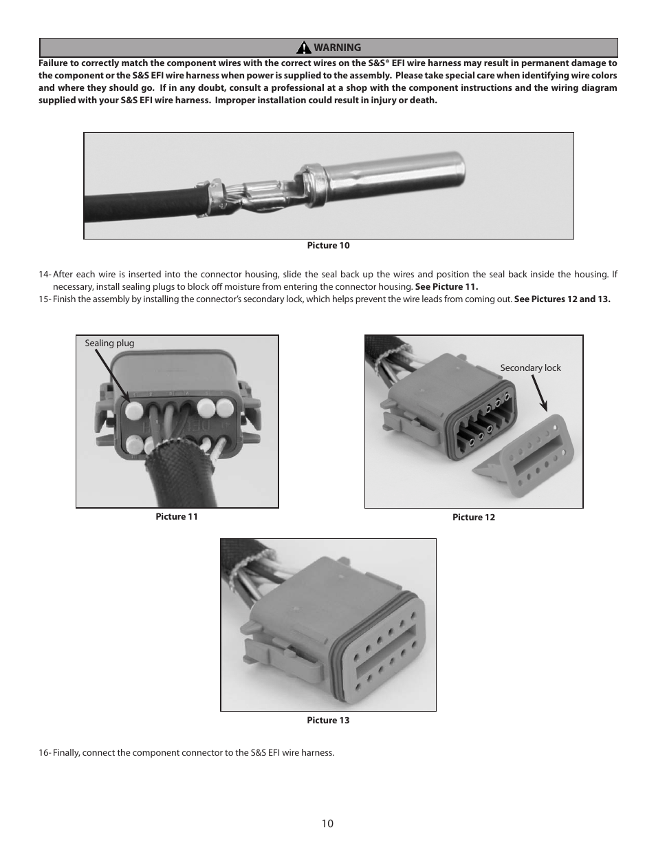 medium resolution of s s cycle efi wire harness for custom frame applications using s s fuel injected engines and delphi style modules user manual page 10 16