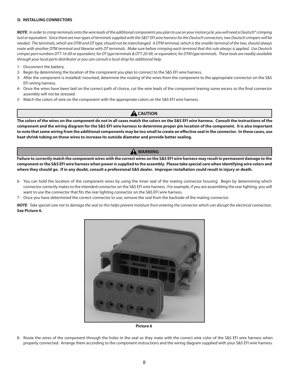 hight resolution of s s cycle efi wire harness for custom frame applications using s s fuel injected engines and delphi style modules user manual page 8 16