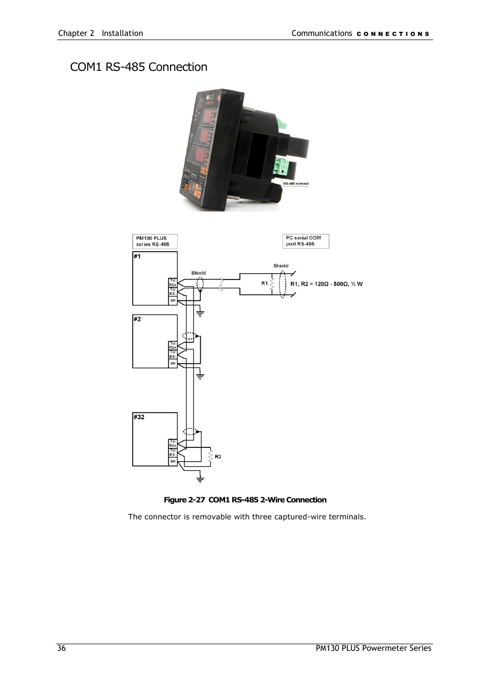 hight resolution of rs 485 2wire wiring diagram com1 rs 485 connection satec pm130 plus manual user manual page 36