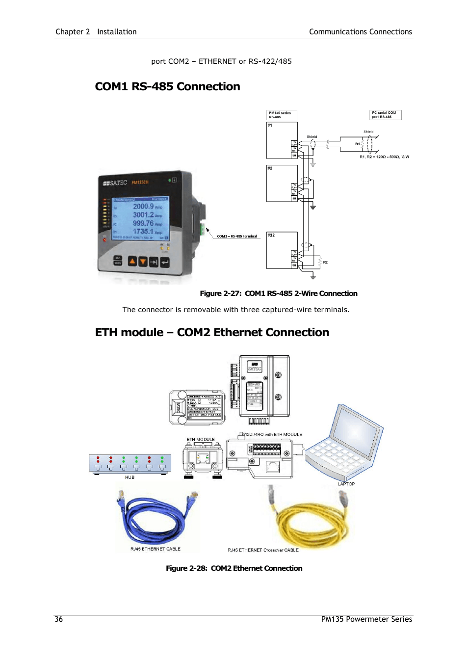 medium resolution of com1 rs 485 connection eth module com2 ethernet connection satec pm135 manual user manual page 36 166