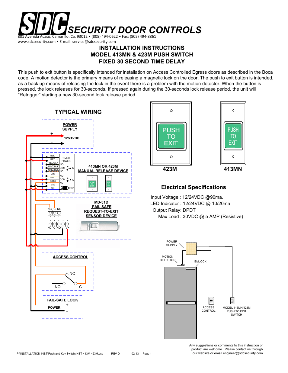 hight resolution of security door controls typical wiring electrical specifications sdc 420 series push switch user manual page 4 7
