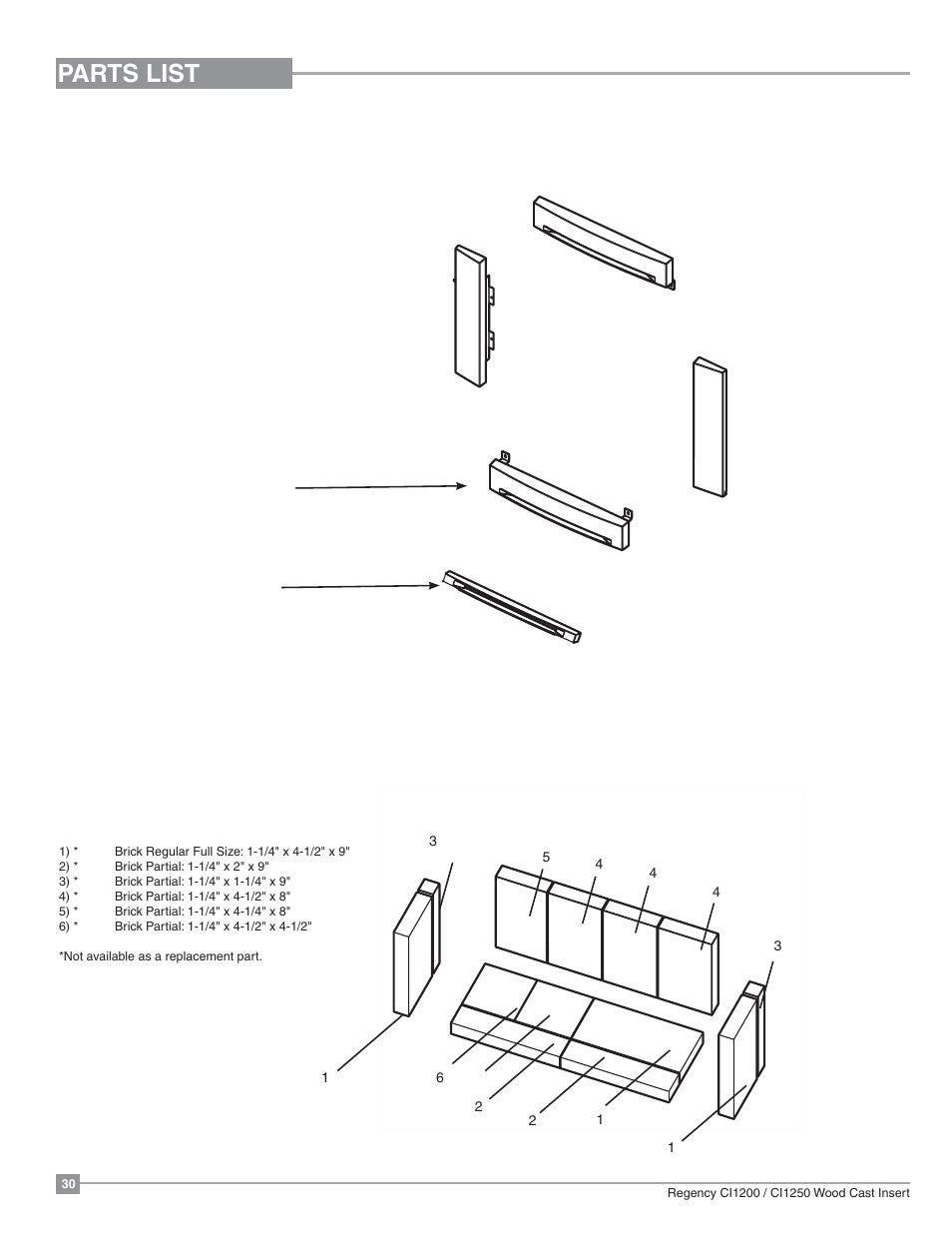 hight resolution of parts list cast faceplate firebrick regency alterra ci1250 small wood insert user manual page 30 32