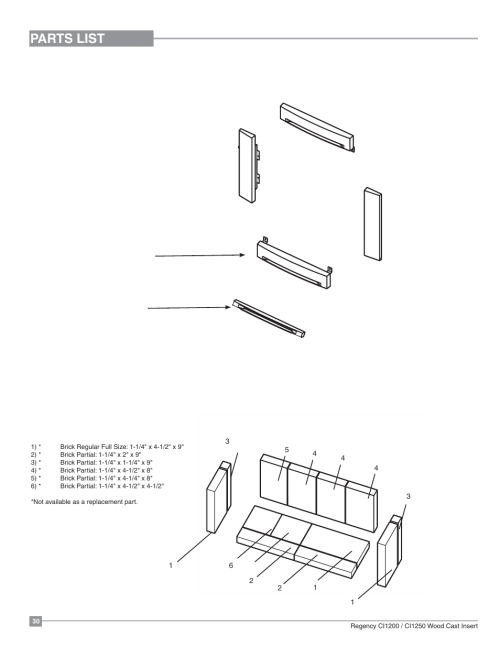 small resolution of parts list cast faceplate firebrick regency alterra ci1250 small wood insert user manual page 30 32
