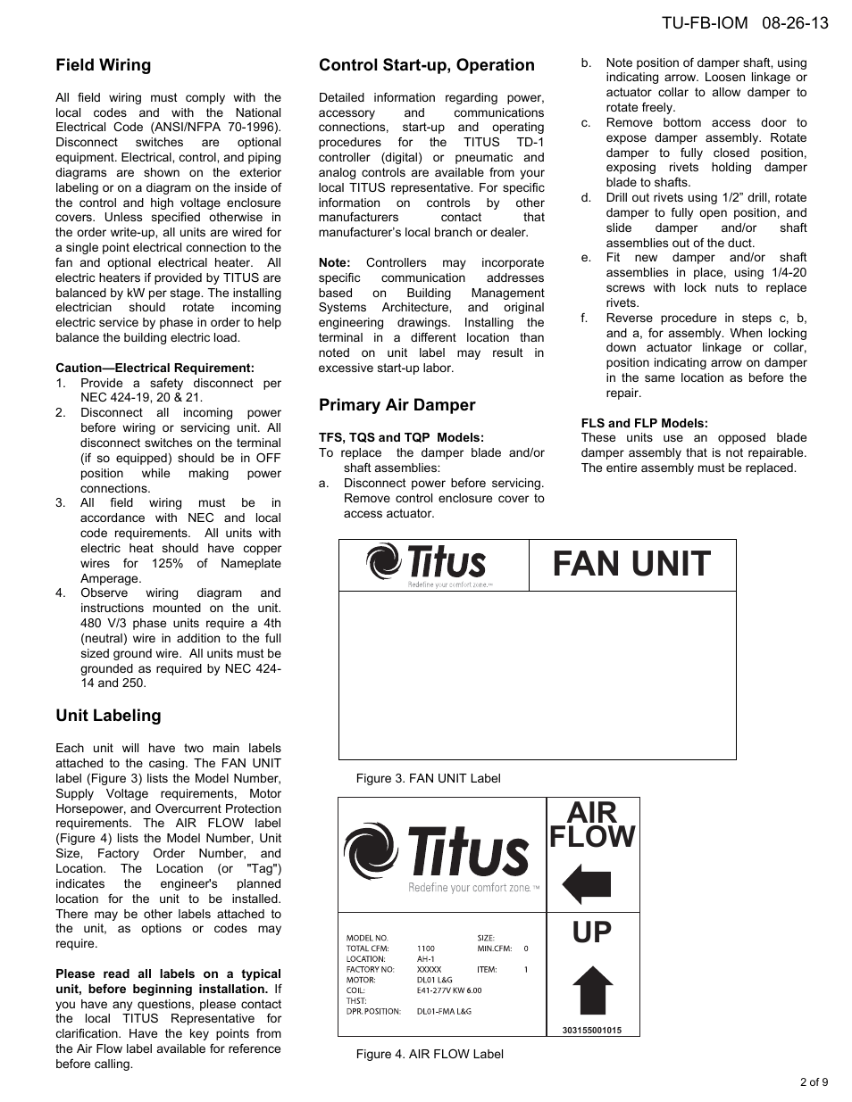 medium resolution of fan unit air flow up field wiring titus fan powered term iom rh manualsdir com titus