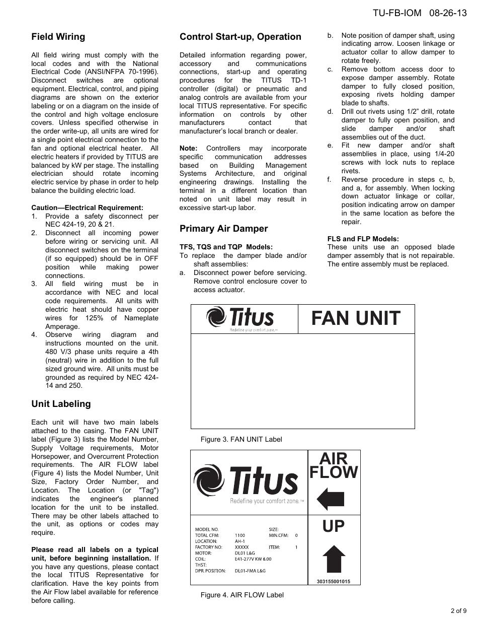hight resolution of fan unit air flow up field wiring titus fan powered term iom rh manualsdir com titus