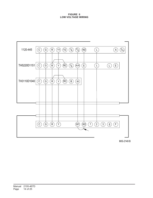 small resolution of low voltage wiring unit control panel thermostat subbase bard single package air conditioners pa13241 a user manual page 14 25