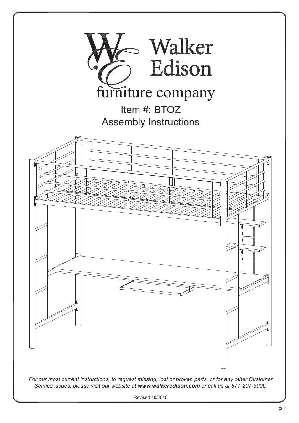 Walker Edison Furniture BTOZ Sunrise Twin/Workstation