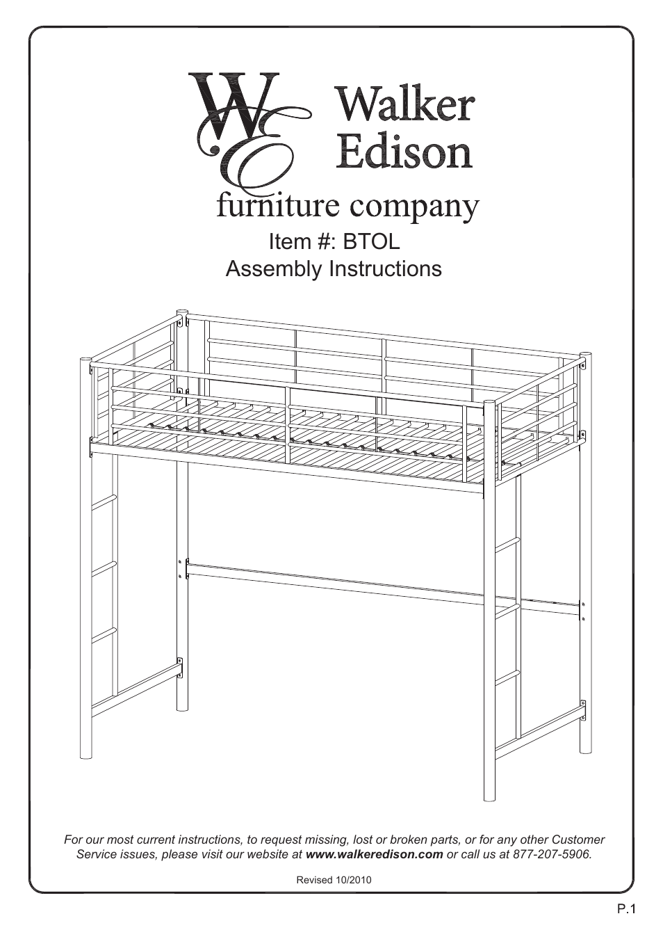 Walker Edison Furniture BTOL Sunrise Twin/Loft Metal Bunk