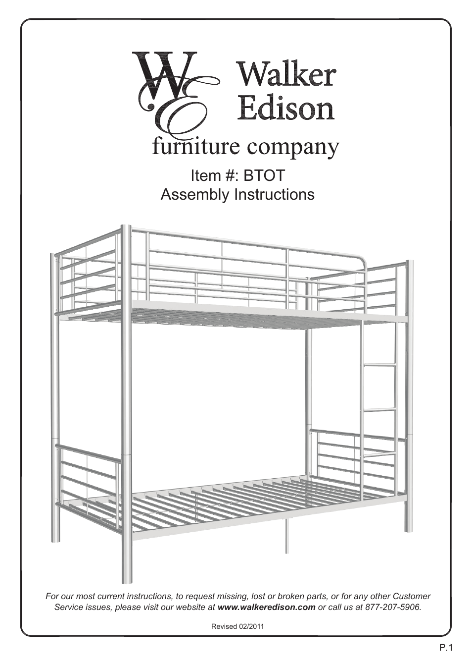 Walker Edison Furniture BTOT Sunrise Twin/Twin Metal Bunk