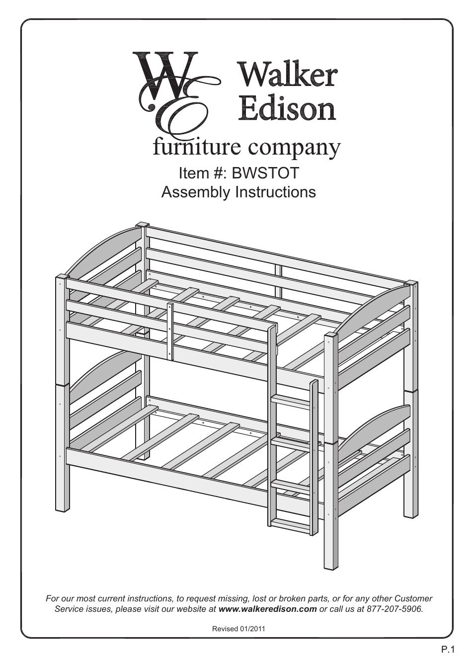 Walker Edison Furniture BWSTOT Wood Twin/Twin Bunk Bed