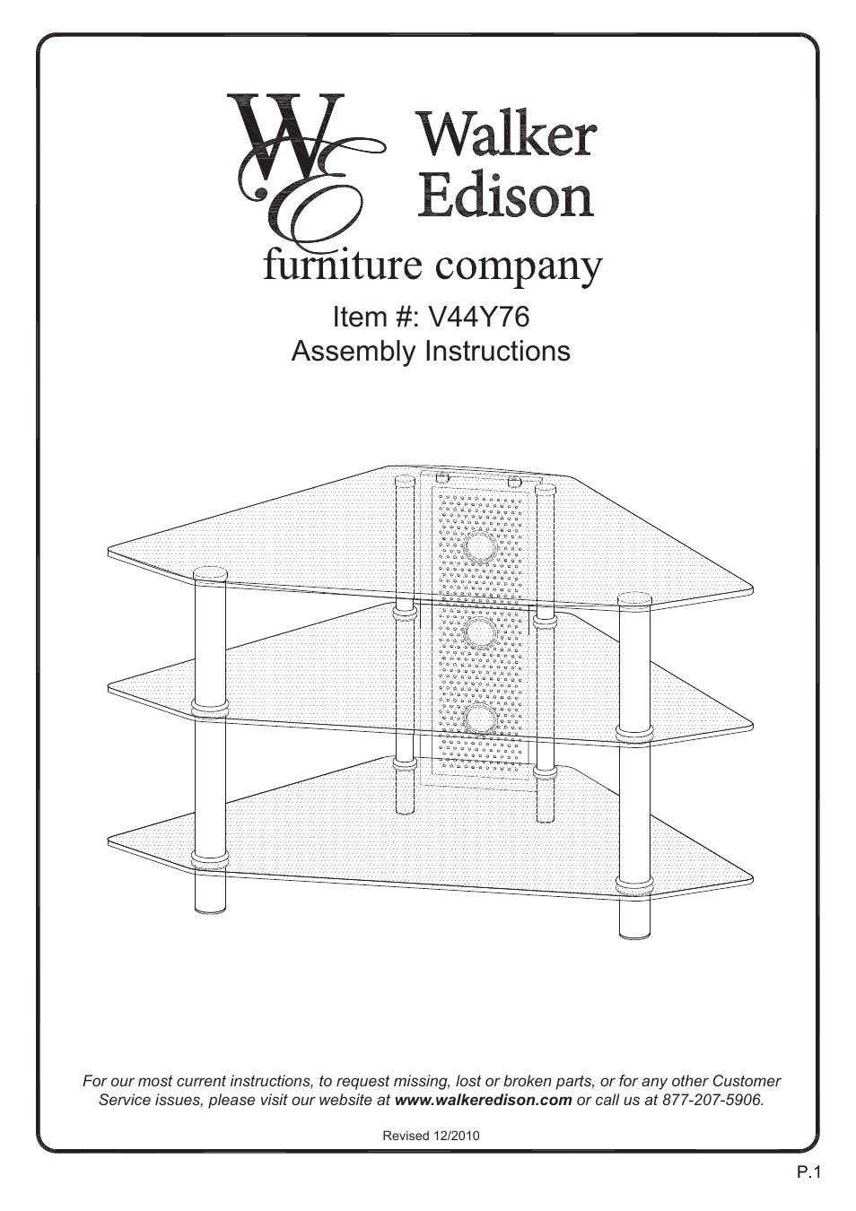 Walker Edison Furniture V44Y76 44 Bermuda Corner Glass TV