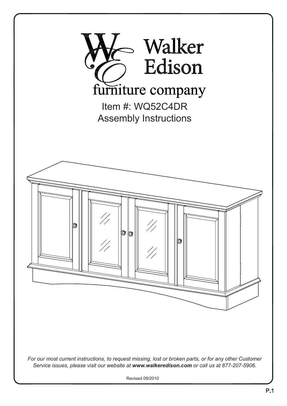 Walker Edison Furniture WQ52C4DR 52 Wasatch TV Console
