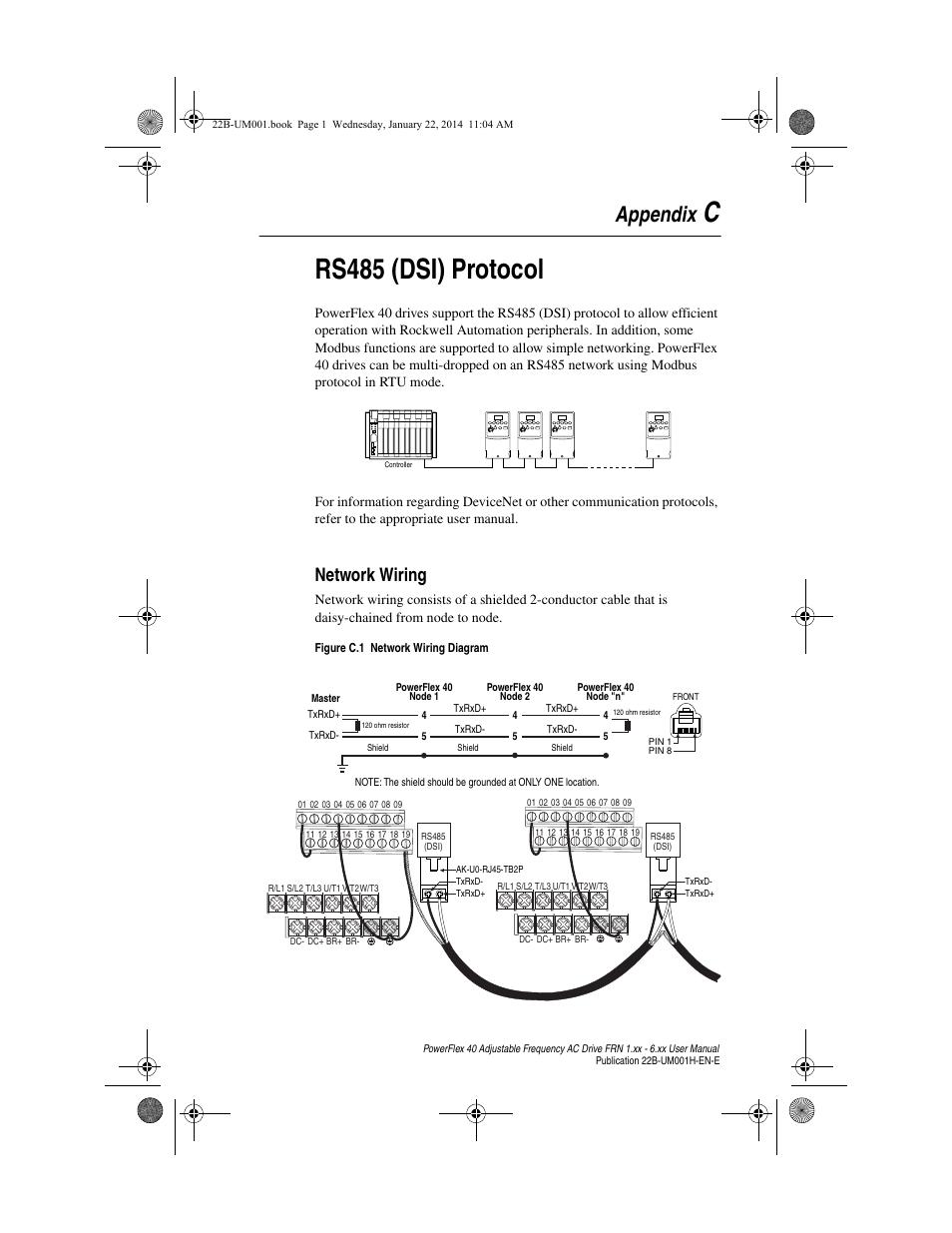 daisy chain wiring diagram 9 pin trailer plug appendix c rs485 dsi protocol network rockwell automation 22b powerflex 40 frn 1 xx 6 user manual page 125 160