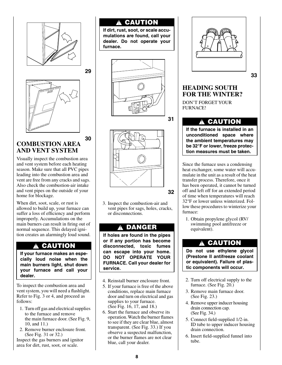 Combustion area and vent system, Caution, Heading south